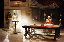 KING LEAR   by Shakespeare   director: Trevor Nunn <br>,I/i - at lectern: Romola Garai (Cordelia)   seated at table: Ian McKellen (King Lear),Royal Shakespeare Company (RSC),Courtyard Theatre, Stratfo...