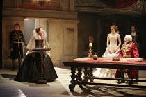 KING LEAR   by Shakespeare   director: Trevor Nunn <br>,I/i - at lectern: Frances Barber (Goneril)   standing by Lear: Romola Garai (Cordelia)   seated at table: Ian McKellen (King Lear),Royal Shakesp...