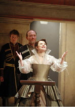 KING LEAR   by Shakespeare   director: Trevor Nunn <br>,I/i: Monica Dolan (Regan), Guy Williams (Duke of Cornwall),Royal Shakespeare Company (RSC),Courtyard Theatre, Stratford-upon-Avon, England...