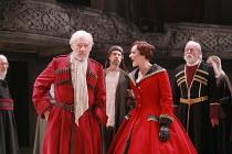KING LEAR   by Shakespeare   director: Trevor Nunn <br>,II/iv: Ian McKellen (King Lear), Frances Barber (Goneril),Royal Shakespeare Company (RSC),Courtyard Theatre, Stratford-upon-Avon, England...