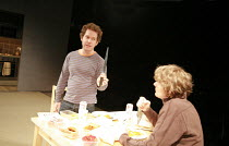 LANDSCAPE WITH WEAPON   by Joe Penhall   director: Roger Michell <br>,l-r: Tom Hollander (Ned), Julian Rhind-Tutt (Dan),Cottesloe Theatre / National Theatre, London SE1                     05/04/2007,