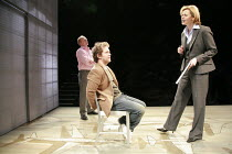 LANDSCAPE WITH WEAPON   by Joe Penhall   director: Roger Michell <br>,l-r: (rear) Jason Watkins (Brooks), Tom Hollander (Ned), Pippa Haywood (Ross),Cottesloe Theatre / National Theatre, London SE1...