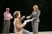 LANDSCAPE WITH WEAPON   by Joe Penhall   director: Roger Michell <br>,l-r: Jason Watkins (Brooks), Tom Hollander (Ned), Pippa Haywood (Ross),Cottesloe Theatre / National Theatre, London SE1...
