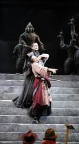 CORIOLANUS   by Shakespeare   director: Yukio Ninagawa ,Coriolanus faces the plebeians: Toshiaki Karasawa (Caius Martius Coriolanus - in black),The Ninagawa Company / BITE:07 / Barbican Theatre, Londo...