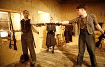 "SENORA CARRAR""S RIFLES   by Bertolt Brecht   translated by Biyi Bandele   director: Paul Hunter <br>,l-r: Richard Katz (Pedro), Sandy McDade (Senora Carrar), Hugh Skinner (Jose),The Young Vic, London..."