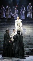 CORIOLANUS   by Shakespeare   director: Yukio Ninagawa <br>,on steps: Kotaro Yoshida (Menenius Agrippa),below: Toshiaki Karasawa (Coriolanus) with Virgilia, Young Martius, Volumnia,The Ninagawa Compan...