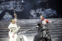 CORIOLANUS   by Shakespeare   director: Yukio Ninagawa  ,l-r: Masanobu Katsumura (Tullus Aufidius), Toshiaki Karasawa (Caius Martius Coriolanus),The Ninagawa Company / BITE:07 / Barbican Theatre, Lond...