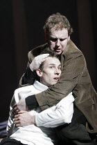 HAMLET  by Shakespeare  design: Laura Hopkins  lighting: Mark Jonathan  fights: Terry King  director: Rupert Goold <br>~Hamlet dies: Tobias Menzies (Hamlet), David Ganly (Horatio)~Royal Theatre, North...