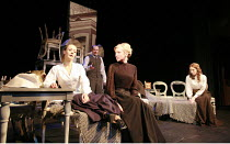THREE SISTERS   by Chekhov   director: Declan Donnellan   designer: Nick Ormerod <br>,l-r: Evgenia Dmitrieva (Olga), Irina Grineva (Masha), Nelly Uvarova ((Irina) with (rear) Alexei Dadonov (Prozorov...