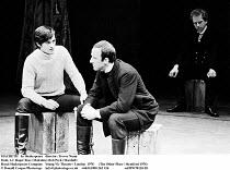 MACBETH  by Shakespeare  design: John Napier  lighting: Leo Leibovici  director: Trevor Nunn ~front, l-r: Roger Rees (Malcolm), Bob Peck (Macduff) ~Royal Shakespeare Company   Young Vic Theatre, Londo...