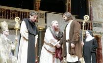 IN EXTREMIS   by Howard Brenton   director: John Dove  ,centre, l-r: Jack Laskey (Bernard of Clairvaux), Colin Hurley (Louis VI), Oliver Boot (Abelard),Shakespeare's Globe, London SE1  18/05/2007
