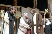 IN EXTREMIS   by Howard Brenton   director: John Dove  ,l-r: Jack Laskey (Bernard of Clairvaux), Colin Hurley (Louis VI), Oliver Boot (Abelard),Shakespeare's Globe, London SE1  18/05/2007