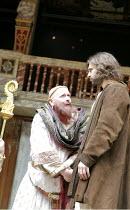 IN EXTREMIS   by Howard Brenton   director: John Dove  ,l-r: Colin Hurley (Louis VI), Oliver Boot (Abelard),Shakespeare's Globe, London SE1  18/05/2007