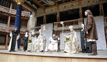 IN EXTREMIS   by Howard Brenton   director: John Dove  ,far left: Jack Laskey (Bernard of Clairvaux)   centre: Colin Hurley (Louis VI)   far right: Oliver Boot (Abelard),Shakespeare's Globe, London SE...