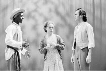 AS YOU LIKE IT  by Shakespeare  design: Nick Ormerod  director: Declan Donnellan <br>~l-r: Adrian Lester (Rosalind), Tom Hollander (Celia), Patrick Toomey (Orlando de Boys)   ,Cheek by Jowl / Lyric Ha...
