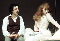THE SEAGULL   by Chekhov   director: Lindsay Anderson <br>,Frank Grimes (Konstantin), Helen Mirren (Nina),Lyric Theatre, London W1      1975                ,