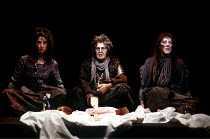 MACBETH  by Shakespeare  design: Bob Crowley  lighting: Mark Henderson  director: Adrian Noble ~l-r: Anna Patrick (Third Witch), Dilys Laye (First Witch), Susan Porrett (Second Witch)~Royal Shakespear...