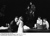 MACBETH  by Shakespeare  design: Bob Crowley  lighting: Mark Henderson  director: Adrian Noble ~IV/i - the apparitions: Macbeth (Miles Anderson) with crowned child, other children, Witch in background...