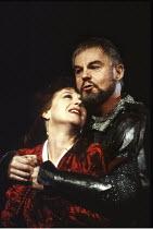 MACBETH by Shakespeare  design: Ian MacNeil  lighting: Alan Burrett  fight arranger: Malcolm Ranson  director: Adrian Noble ~Cheryl Campbell (Lady Macbeth), Derek Jacobi (Macbeth) ~Royal Shakespeare C...