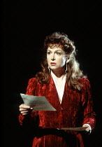 MACBETH by Shakespeare  design: Ian MacNeil  lighting: Alan Burrett  fight arranger: Malcolm Ranson  director: Adrian Noble ~Cheryl Campbell (Lady Macbeth) ~Royal Shakespeare Company (RSC), Barbican T...