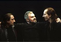 MACBETH by Shakespeare  design: Ian MacNeil  lighting: Alan Burrett  fight arranger: Malcolm Ranson  director: Adrian Noble ~Act III/i - Macbeth briefs Banquo's assassins: (centre) Derek Jacobi (Macbe...