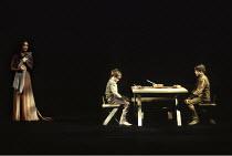 MACBETH by Shakespeare  design: Ian MacNeil  lighting: Alan Burrett  fight arranger: Malcolm Ranson  director: Adrian Noble ~Act IV/ii - Lady Macduff (Emily Richard) and sons~Royal Shakespeare Company...