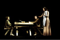 MACBETH by Shakespeare  design: Ian MacNeil  lighting: Alan Burrett  fight arranger: Malcolm Ranson  director: Adrian Noble ~Act IV/ii - Lady Macduff (Emily Richard) and sons ~Royal Shakespeare Compan...