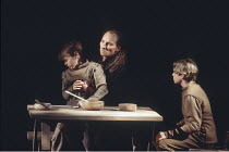 MACBETH by Shakespeare  design: Ian MacNeil  lighting: Alan Burrett  fight arranger: Malcolm Ranson  director: Adrian Noble ~,IV/ii - Lady Macduff's sons with their murderer ~Royal Shakespeare Company...