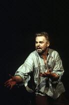 MACBETH by Shakespeare  design: Ian MacNeil  lighting: Alan Burrett  fight arranger: Malcolm Ranson  director: Adrian Noble ~AcII/ii - Macbeth (Derek Jacobi) after Duncan's murder ~Royal Shakespeare C...