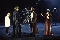 MACBETH by Shakespeare  design: Ian MacNeil  lighting: Alan Burrett  fight arranger: Malcolm Ranson  director: Adrian Noble ~2nd left: Michael Siberry (Macduff), centre: Christopher Ravenscroft (Banqu...