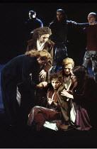 MACBETH by Shakespeare  design: Ian MacNeil  lighting: Alan Burrett  fight arranger: Malcolm Ranson  director: Adrian Noble ~'Help me hence, ho!': Lady Macbeth (Cheryl Campbell) attended by ladies~Roy...