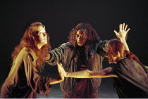 MACBETH by Shakespeare  design: Ruari Murchison  lighting: Tim Mitchell  choreographer: Pat Garrett  fight director: Richard Ryan  director: Bill Alexander ~the witches, l-r: Annie Farr, Rakie Ayola,...