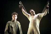 'MACBETH' (Shakespeare - director: Bill Alexander),final scene: (left) Daniel Isaacs (Malcolm) with slain Macbeth,Birmingham Repertory Theatre, England                19/09/1995,