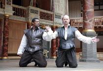 OTHELLO   by Shakespeare   director: Wilson Milam <br>,III/iii - l-r: Eamonn Walker (Othello), Tim McInnerny (Iago),Shakespeare^s Globe, London SE1                    24/05/2007        ,