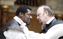 "OTHELLO   by Shakespeare   director: Wilson Milam <br>,III/iii - l-r: Eamonn Walker (Othello), Tim McInnerny (Iago),Shakespeare""s Globe, London SE1                    24/05/2007        ,"
