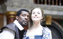 OTHELLO   by Shakespeare   director: Wilson Milam <br>,III/iii: Eamonn Walker (Othello), Zoe Tapper (Desdemona),Shakespeare^s Globe, London SE1                    24/05/2007        ,