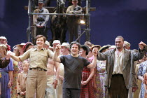 FIDELIO   by Beethoven   conductor: Antonio Pappano   director: J�rgen Flimm <br>,curtain call - l-r: Karita Mattila (Leonore), Antonio Pappano (conductor), Endrik Wottrich (Florestan),The Royal Opera...