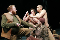 CYMBELINE   by Shakespeare   director: Declan Donnellan <br>,l-r: Ryan Ellsworth (Belarius), Daniel Percival (Arviragus), John Macmillan (Guiderius), (front) Jodie McNee (Imogen, disguised),Cheek by J...