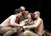 CYMBELINE   by Shakespeare   director: Declan Donnellan <br>,l-r: Daniel Percival (Arviragus),Ryan Ellsworth (Belarius), Jodie McNee (Imogen, disguised), John Macmillan (Guiderius),Cheek by Jowl / Bar...