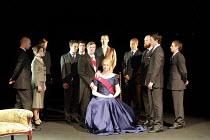 CYMBELINE   by Shakespeare   director: Declan Donnellan <br>,front centre: David Collings (King Cymbeline), Gwendoline Christie (Queen),Cheek by Jowl / Barbican Theatre, London EC2        29/05/2007,
