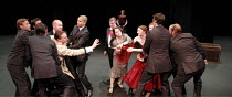 CYMBELINE  by Shakespeare  design: Nick Ormerod  lighting: Judith Greenwood  fights: Terry King  movement: Jane Gibson  director: Declan Donnellan  ~Posthumus (left, with glasses) and Imogen (in red d...