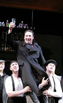 KEAN   by Jean Paul Sartre   adapted from the play by Alexander Dumas   ,translated by Frank Hauser   director: Adrian Noble <br>,held aloft: Antony Sher (Edmund Kean) ,Apollo Theatre, London W1...