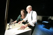 MACBETH  by Shakespeare  design: Anthony Ward  lighting: Howard Harrison  fights: Terry King  director: Rupert Goold ~~Kate Fleetwood (Lady Macbeth), Patrick Stewart (Macbeth)~Minerva Theatre, Chiches...