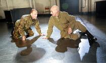 MACBETH  by Shakespeare  design: Anthony Ward  lighting: Howard Harrison  fights: Terry King  director: Rupert Goold ~l-r: Michael Feast (Macduff), Patrick Stewart (Macbeth)~Minerva Theatre, Chicheste...