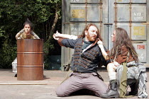 MACBETH   by Shakespeare   director: Edward Kemp <br>,IV/i - Macbeth with witches and ^apparition^ - l-r: Emma Clayton, Antony Byrne (Macbeth), Anna Lowe  ,Open Air Theatre / Regent^s Park, London NW1...