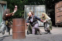 MACBETH   by Shakespeare   director: Edward Kemp <br>,IV/i - Macbeth with witches and ^apparition^ - l-r: Anna Lowe, Antony Byrne (Macbeth), Emma Clayton ,Open Air Theatre / Regent^s Park, London NW1...