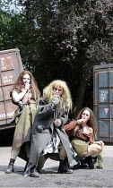 MACBETH   by Shakespeare   director: Edward Kemp <br>,IV/i - the witches - l-r: Olivia Darnley, Emma Clayton, Anna Lowe,Open Air Theatre / Regent^s Park, London NW1       04/06/2007      ,
