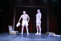 MACBETT   by Eugene Ionesco   a retelling of Shakespeare^s ^Macbeth^   English version by Tanya Ronder   director: Silviu Purcarete <br>,l-r: David Troughton (Macbett), Sean Kearns (Banco),Royal Shake...