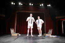 MACBETT   by Eugene Ionesco   a retelling of Shakespeare^s ^Macbeth^   English version by Tanya Ronder   director: Silviu Purcarete <br>,l-r: Sean Kearns (Banco), David Troughton (Macbett),Royal Shake...