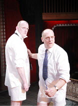 MACBETT   by Eugene Ionesco   a retelling of Shakespeare^s ^Macbeth^   ,English version by Tanya Ronder   director: Silviu Purcarete <br>,l-r: Sean Kearns (Banco), David Troughton (Macbett),Royal Shak...